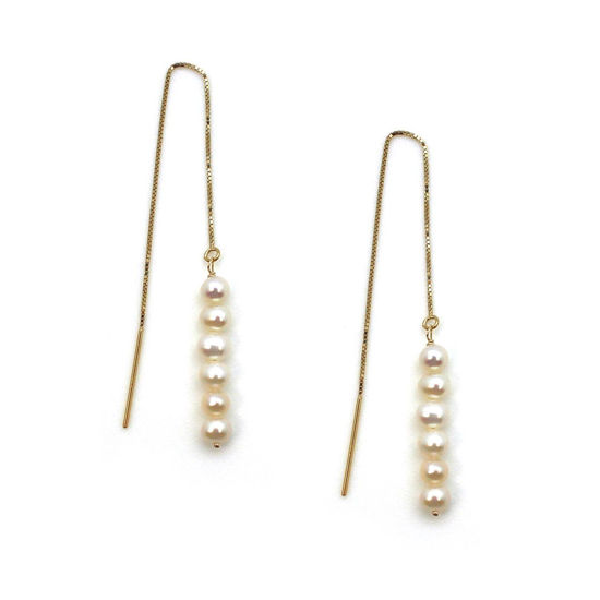 Wholesale 14K Yellow Gold White Freshwater Pearl Stacked Threader Earrings