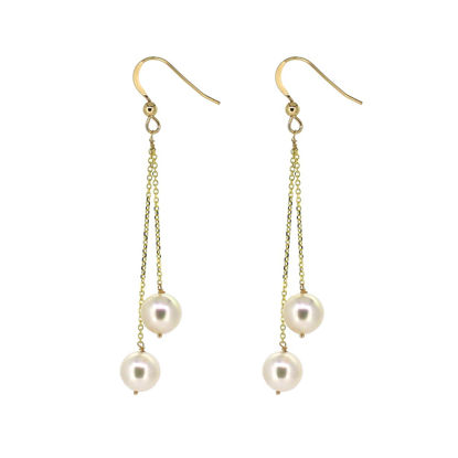 Wholesale 14K Yellow Gold White Akoya Pearl Dangle Earrings