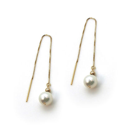 Wholesale 14K Yellow Gold White Akoya Pearl Threader Earrings