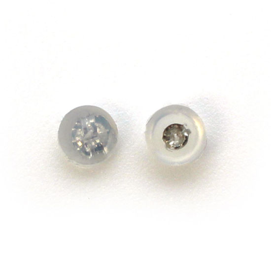 Wholesale 14K White Gold Butterfly Earring Post Backs, Earnuts in Silicone (1 pair)