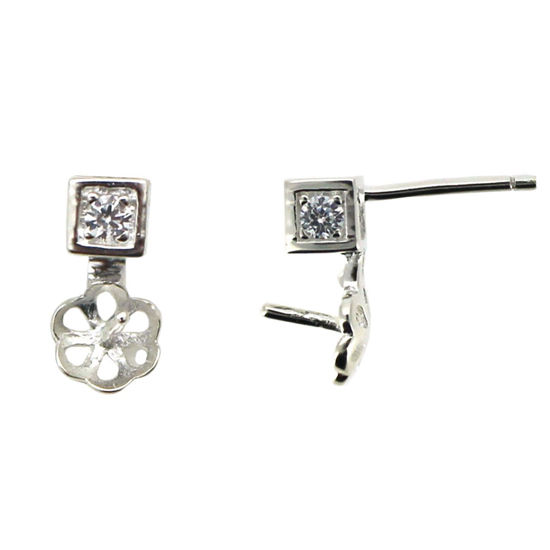 Wholesale Sterling Silver Earring Findings, Square CZ Stone Studs with Drop Pearl Cup and Peg, Bridal Earrings (Sold per pair)