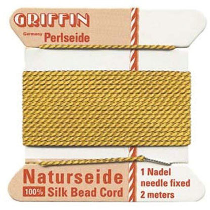 Wholesale Griffin Silk Beading Cord with Needle, Sizes 2,4,6, Silk Amber Thread-Sold per 3 pack