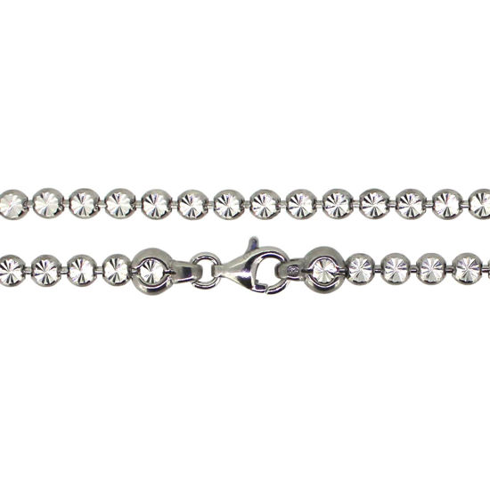 Wholesale Rhodium Over Sterling Silver Finished Chain - Diamond Cut Bead Chain