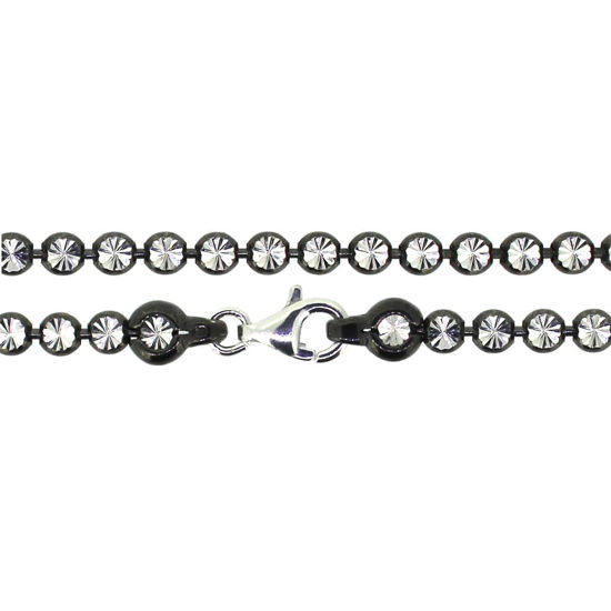 Wholesale Oxidized Sterling Silver Finished Chain - Diamond Cut Bead Chain