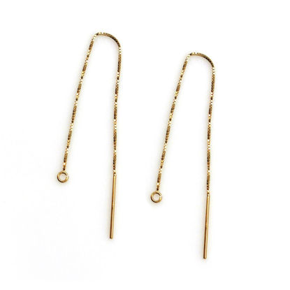 Wholesale 14K Yellow Gold Ear Thread, Long Dangle Threader Gold Earrings-Threader Earrings