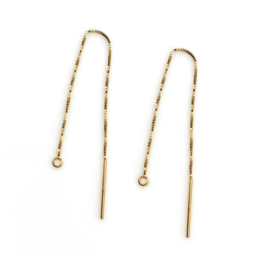 Wholesale 14K Yellow Gold Ear Thread, Long Dangle Threader Gold Earrings-Threader Earrings