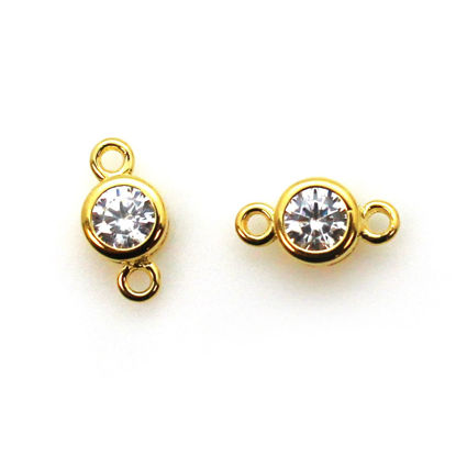 Wholesale Gold Over Sterling Silver CZ Stone Tiny Round Connectors - 5mm (sold per piece)