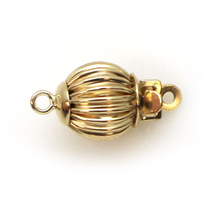 Wholesale 14K Yellow Gold Round Corrugated Ball Clasp (7mm)