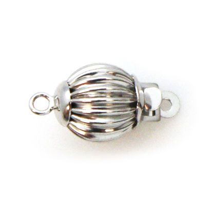 Wholesale 14K White Gold Round Corrugated Ball Clasp (7mm)