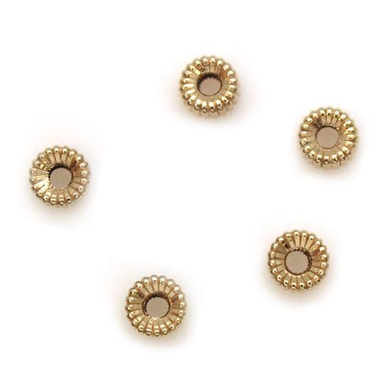 Wholesale 14K Yellow Gold Corrugated Flat Roundelle Beads (3mm) (5 pieces)