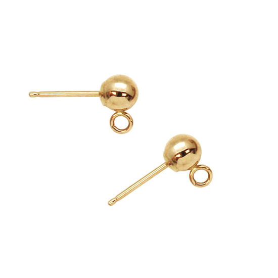 Wholesale 14K Yellow Gold Simple Earring Studs with Ring (1 pair)