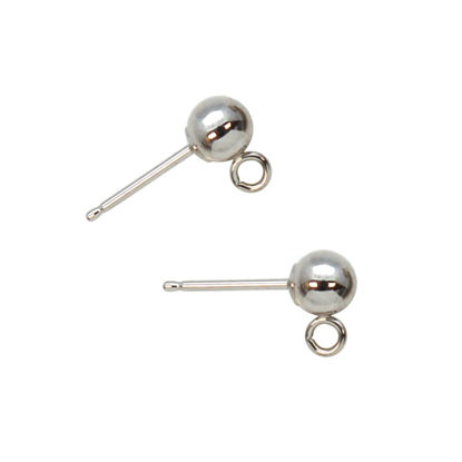 Wholesale 14K White Gold Simple Earring Studs with Ring (1 pair)