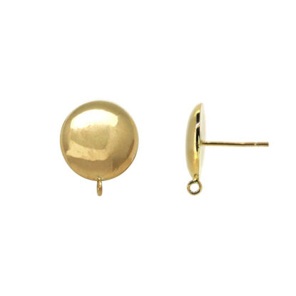 Wholesale 14K Yellow Gold Shiny Round Half-Ball Earrings with Ring