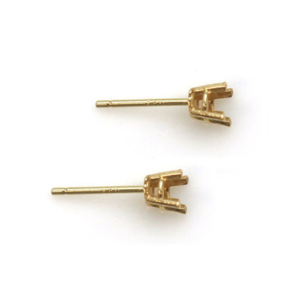 Wholesale 14K Yellow Gold 4-Prong Round Basket (20-25pt -4mm) Earring Settings and Posts (1 pair)