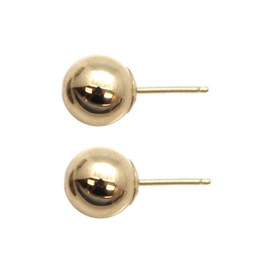 Wholesale 14K Yellow Gold Plain Ball Earring Studs (7mm)