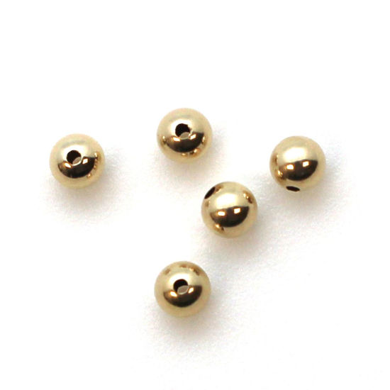 Wholesale 14K Yellow Gold Shiny 4mm Beads (5 pieces)