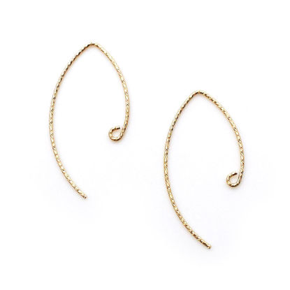 Wholesale 14K Gold Filled Earwires - Sparkle V Shape Ear Wires - Marquise Ear Wires (1 pair)