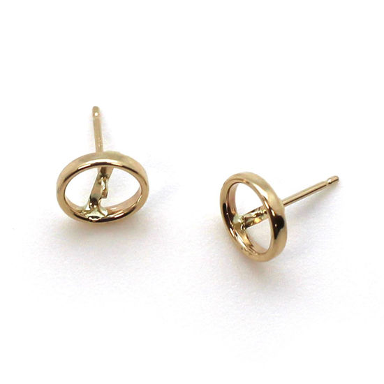Wholesale 14K Yellow Gold Bezel Post for 7-7.5mm Pearls (1 pair)
