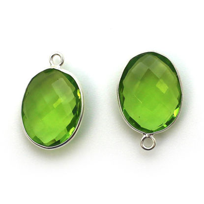 Wholesale Sterling Silver Oval Bezel Peridot Quartz Gemstone Pendant, Wholesale Gemstone Pendants for Jewelry Making