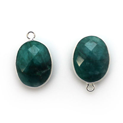Wholesale Sterling Silver Oval Bezel Dyed Emerald Gemstone Pendant, Wholesale Gemstone Pendants for Jewelry Making