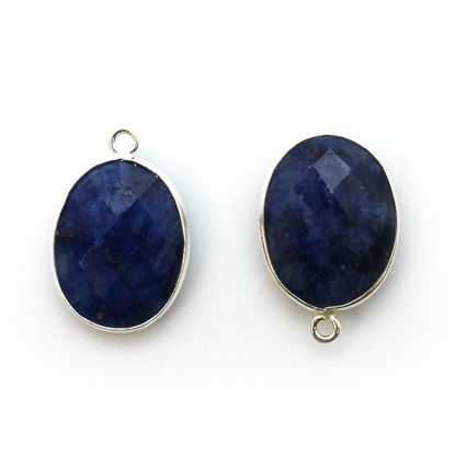Wholesale Sterling Silver Oval Bezel Blue Sapphire Dyed Gemstone Pendant, Wholesale Gemstone Pendants for Jewelry Making