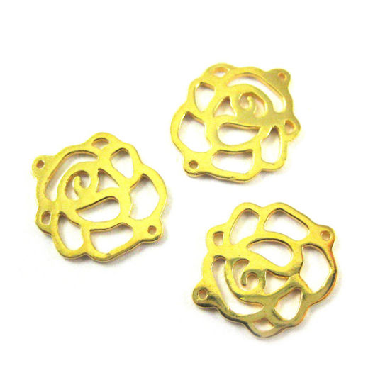 Wholesale Gold Plated Sterling Silver Rose Connector Charm, Charm and Pendants for Jewelry Making, Wholesale Findings