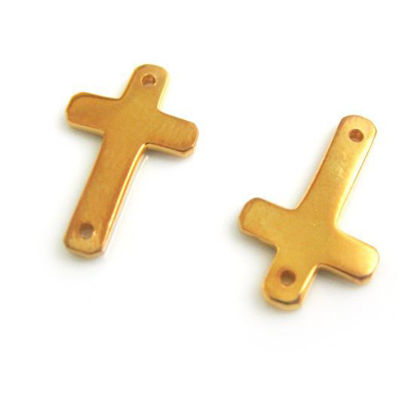 Wholesale Gold plated Sterling Silver Small Cross Charm Connector, Charms and Pendants for Jewelry Making, Wholesale Findings