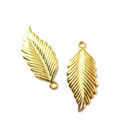 Wholesale Gold plated Sterling Silver Feather Charm, Charms and Pendants for Jewelry Making, Wholesale Findings