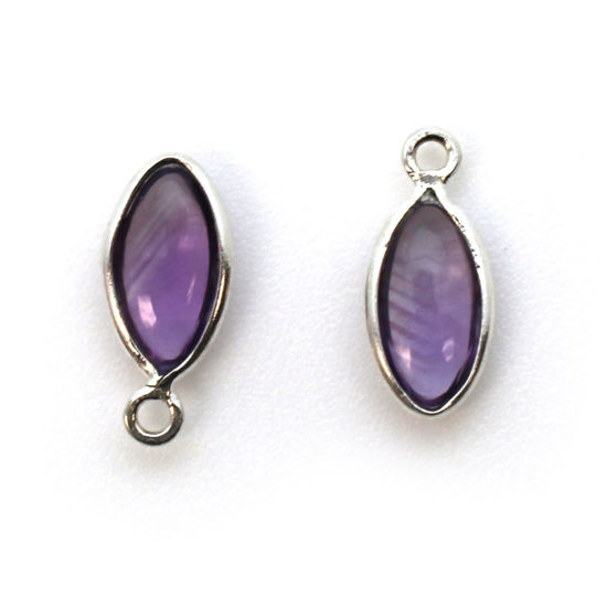 Wholesale Bezel Charm Pendant - Sterling Silver Charm - Natural  Amethyst -Tiny Marquise Shape -6x13mm