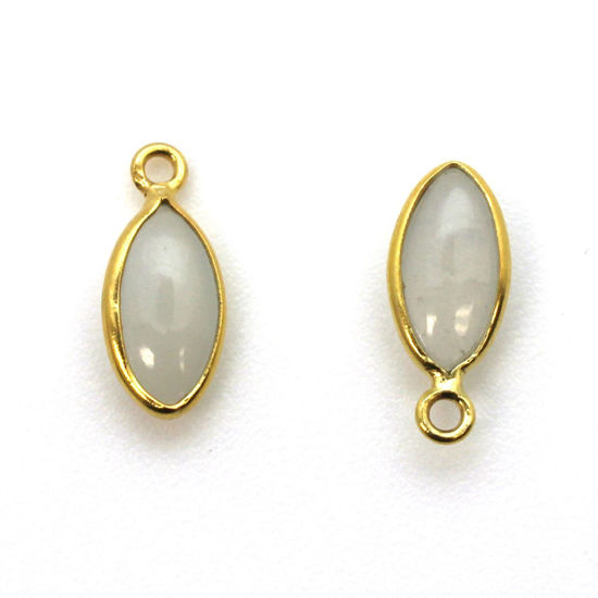 Wholesale Bezel Charm Pendant - Gold Plated Sterling Silver Charm - Natural  Moonstone -Tiny Marquise Shape -6x13mm