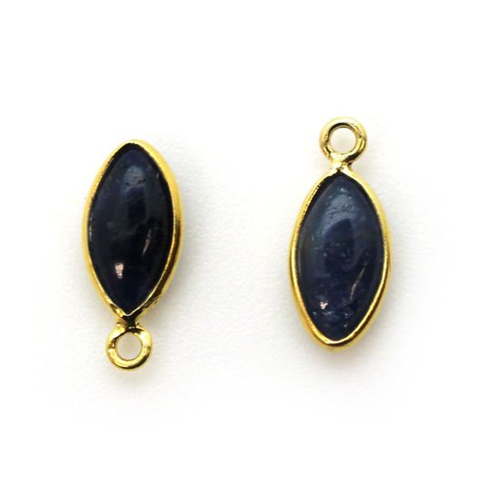Wholesale Bezel Charm Pendant - Gold Plated Sterling Silver Charm - Natural  Blue Sapphire -Tiny Marquise Shape -6x13mm