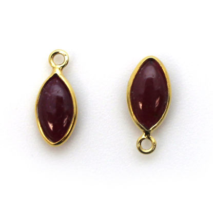Wholesale Bezel Charm Pendant - Gold Plated Sterling Silver Charm - Natural Ruby -Tiny Marquise Shape -6x13mm