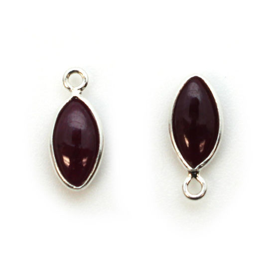 Wholesale Bezel Charm Pendant - Sterling Silver Charm - Natural Ruby -Tiny Marquise Shape -6x13mm