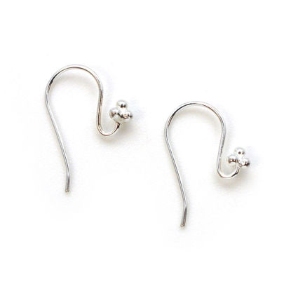 Wholesale Sterling Silver Fishhook with Ball Flower for Jewelry Making, Wholesale Earwire and Findings