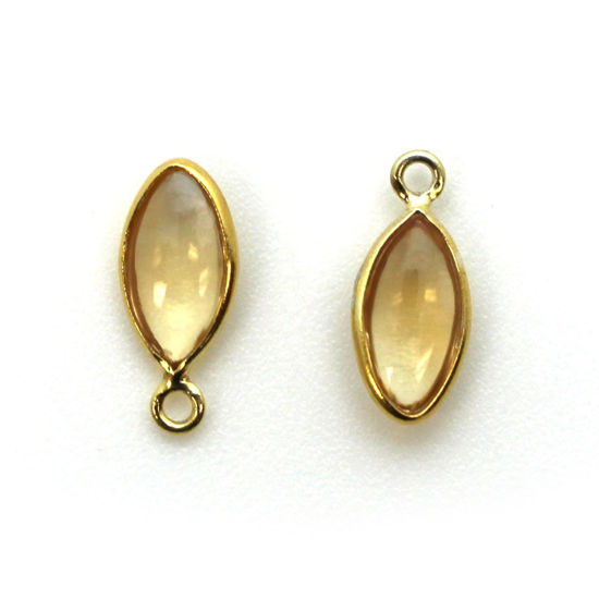 Wholesale Bezel Charm Pendant - Gold Plated Sterling Silver Charm - Natural Citrine -Tiny Marquise Shape -6x13mm