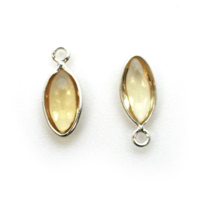 Wholesale Bezel Charm Pendant - Sterling Silver Charm - Natural Citrine -Tiny Marquise Shape -6x13mm
