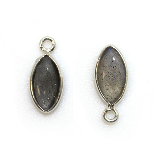 Wholesale Bezel Charm Pendant - Sterling Silver Charm - Natural Labradorite -Tiny Marquise Shape -6x13mm