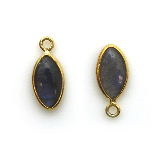 Wholesale Bezel Charm Pendant - Gold Plated Sterling Silver Charm - Natural Labradorite -Tiny Marquise Shape -6x13mm