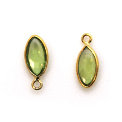 Wholesale Bezel Charm Pendant - Gold Plated Sterling Silver Charm - Peridot -Tiny Marquise Shape -6x13mm