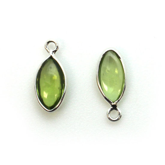 Wholesale Bezel Charm Pendant - Sterling Silver Charm - Peridot -Tiny Marquise Shape -6x13mm