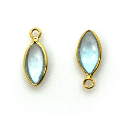 Wholesale Bezel Charm Pendant - Gold Plated Sterling Silver Charm - Sky Blue Topaz -Tiny Marquise Shape -6x13mm