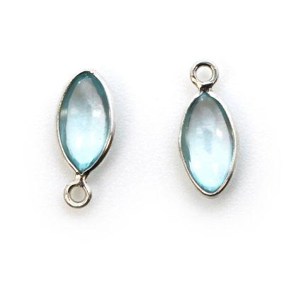 Wholesale Bezel Charm Pendant - Sterling Silver Charm - Sky Blue Topaz -Tiny Marquise Shape -6x13mm