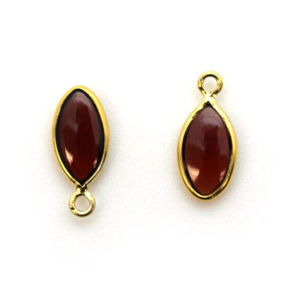 Wholesale Bezel Charm Pendant - Gold Plated Sterling Silver Charm - Natural Garnet -Tiny Marquise Shape -6x13mm