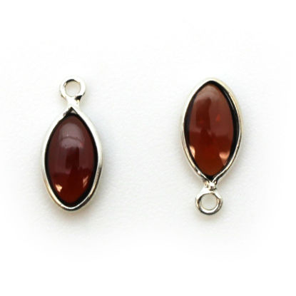 Wholesale Bezel Charm Pendant - Sterling Silver Charm - Natural Garnet -Tiny Marquise Shape -6x13mm