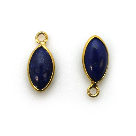 Wholesale Bezel Charm Pendant - Gold Plated Sterling Silver Charm - Natural Lapis Lazuli -Tiny Marquise Shape -6x13mm