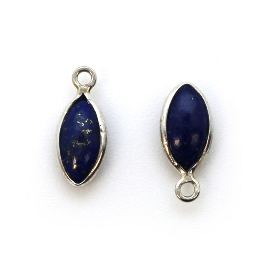 Wholesale Bezel Charm Pendant - Sterling Silver Charm - Natural Lapis Lazuli -Tiny Marquise Shape -6x13mm