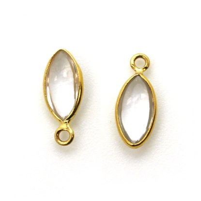 Wholesale Bezel Charm Pendant - Gold Plated Sterling Silver Charm - Natural Crystal -Tiny Marquise Shape -6x13mm