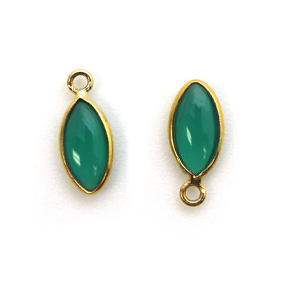 Wholesale Bezel Charm Pendant - Gold Plated Sterling Silver Charm - Natural Green Onyx -Tiny Marquise Shape -6x13mm