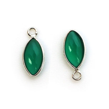 Wholesale Bezel Charm Pendant - Sterling Silver Charm - Natural Green Onyx -Tiny Marquise Shape -6x13mm