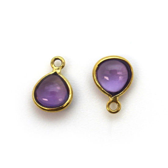 Wholesale Bezel Charm Pendant - Gold Plated Sterling Silver Charm - Natural  Amethyst -Tiny Heart Shape -7mm